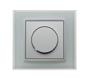Светорегулятор поворотнонажимной 600 Вт Berker B.7 полярная белизна/стекло