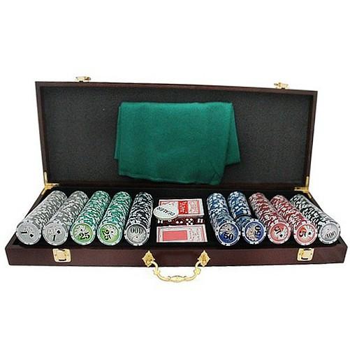 """Гра Покер  500 жетонів з номіналом у дерев""""яній валізі HQ Poker"""