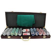 """Гра Покер  500 жетонів з номіналом у дерев""""яній валізі HQ Poker, фото 1"""