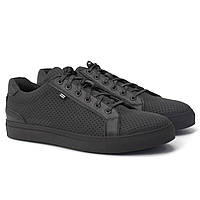 Мужские кроссовки летние кожаные с перфорацией черные матовые кеды  Rosso Avangard Puran Black Perf Mate