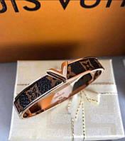 Браслет женский от бренда Louis Vuitton в стильном сочетании кожи и золота в прем качестве