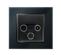 Розетка антенная оконечная Berker B.7 чёрный/стекло черное
