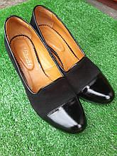 Женские туфли черные на каблуке Б/У 39 размер - по стельке 25см, натуральная кожа, каблук 6см