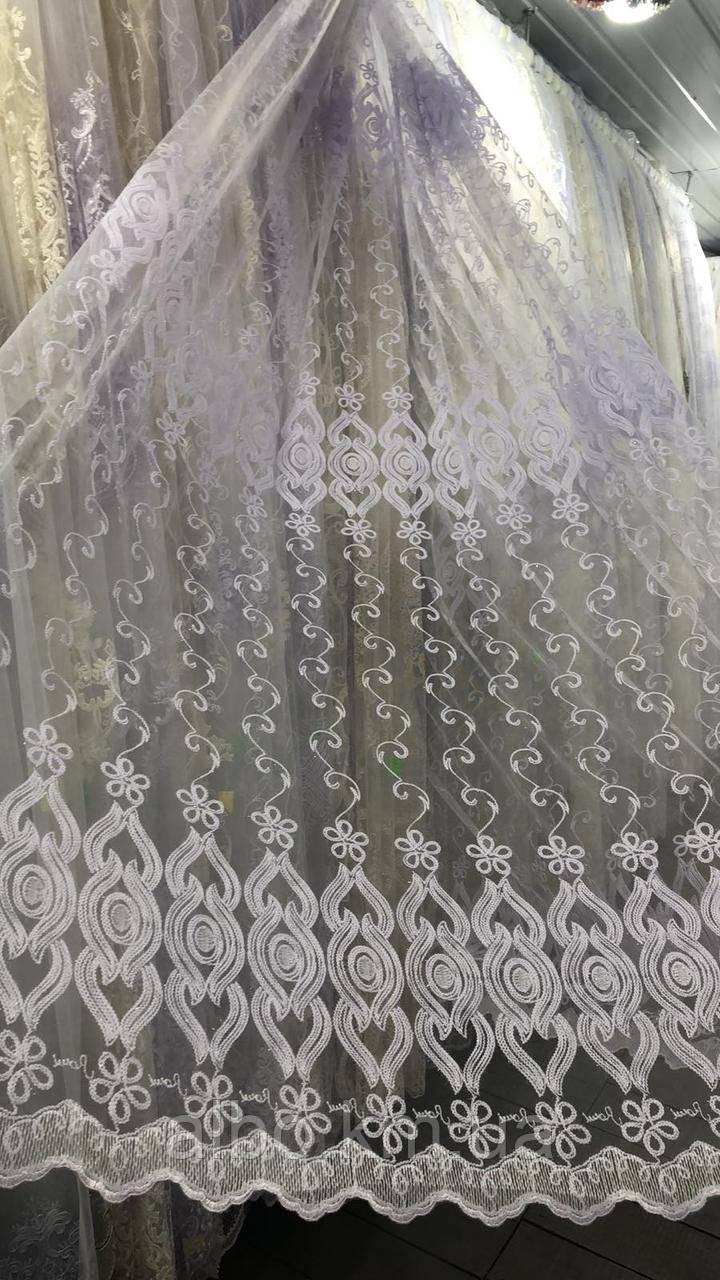 Елегантний білий тюль з фатину з вишивкою білого кольору на метраж, висота 2,8 м (12М216)