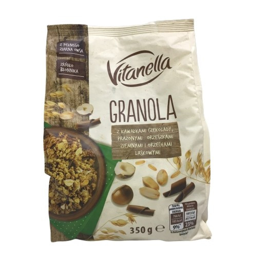 Кранчі (мюслі) з горіхами та шоколадом Vitanella Granola, 350г, суміш пшеничних і вівсяних злаків