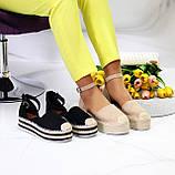 Женские босоножки на плетеной подошве с закрытым носком и пяткой с ремешком черные бежевые, фото 2