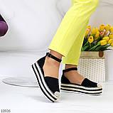 Женские босоножки на плетеной подошве с закрытым носком и пяткой с ремешком черные бежевые, фото 3