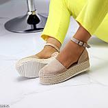 Женские босоножки на плетеной подошве с закрытым носком и пяткой с ремешком черные бежевые, фото 6