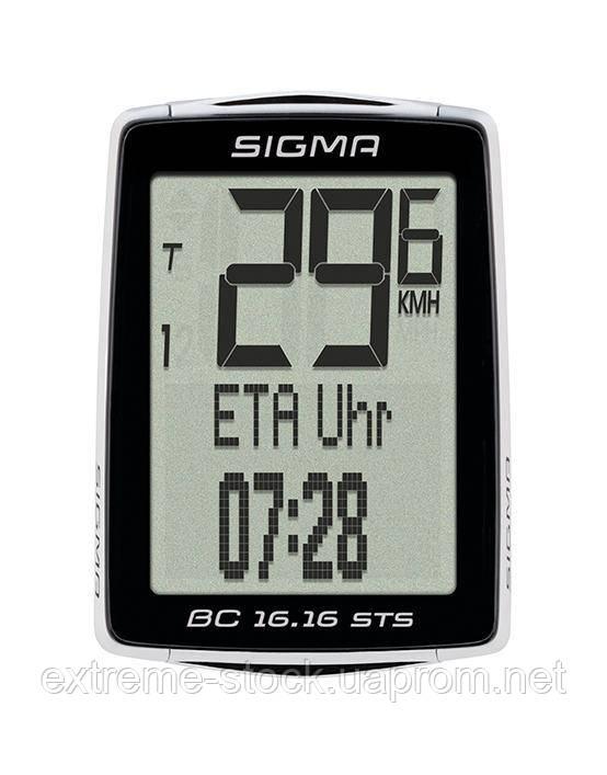 Велокомпьютер Sigma BC 16.16 STS, беспроводной, чёрно-белый