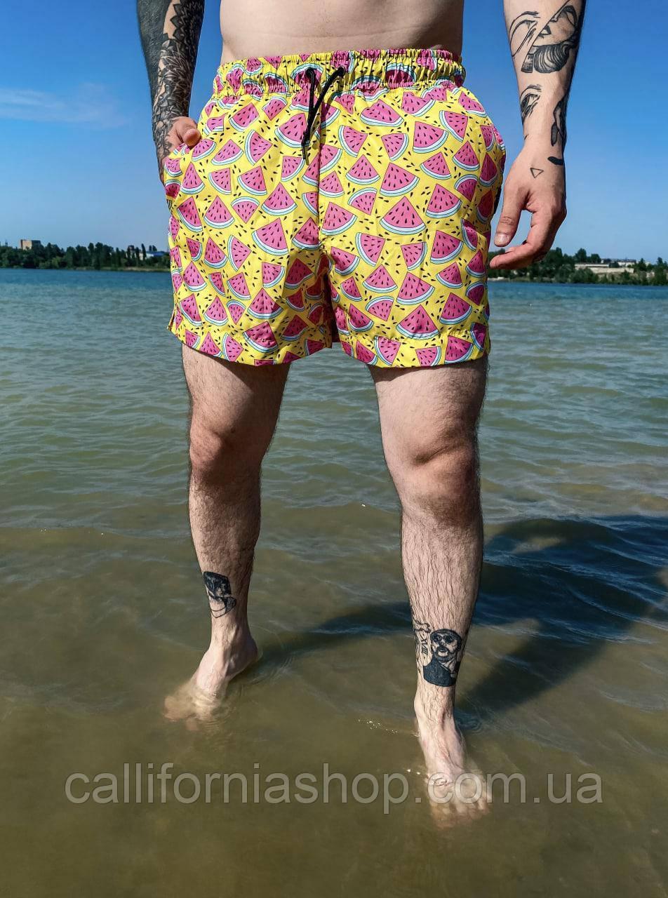 Пляжные шорты мужские желтые яркие плавки купальные плавательные шорты