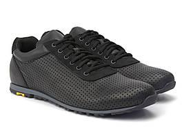 Мужские кроссовки летние кожаные кеды повседневные обувь с перфорацией Rosso Avangard SoU BlackPerf