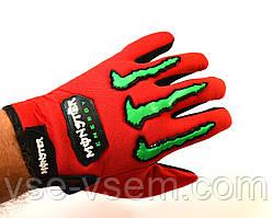 Текстильные мотоперчатки Monster Energy красные