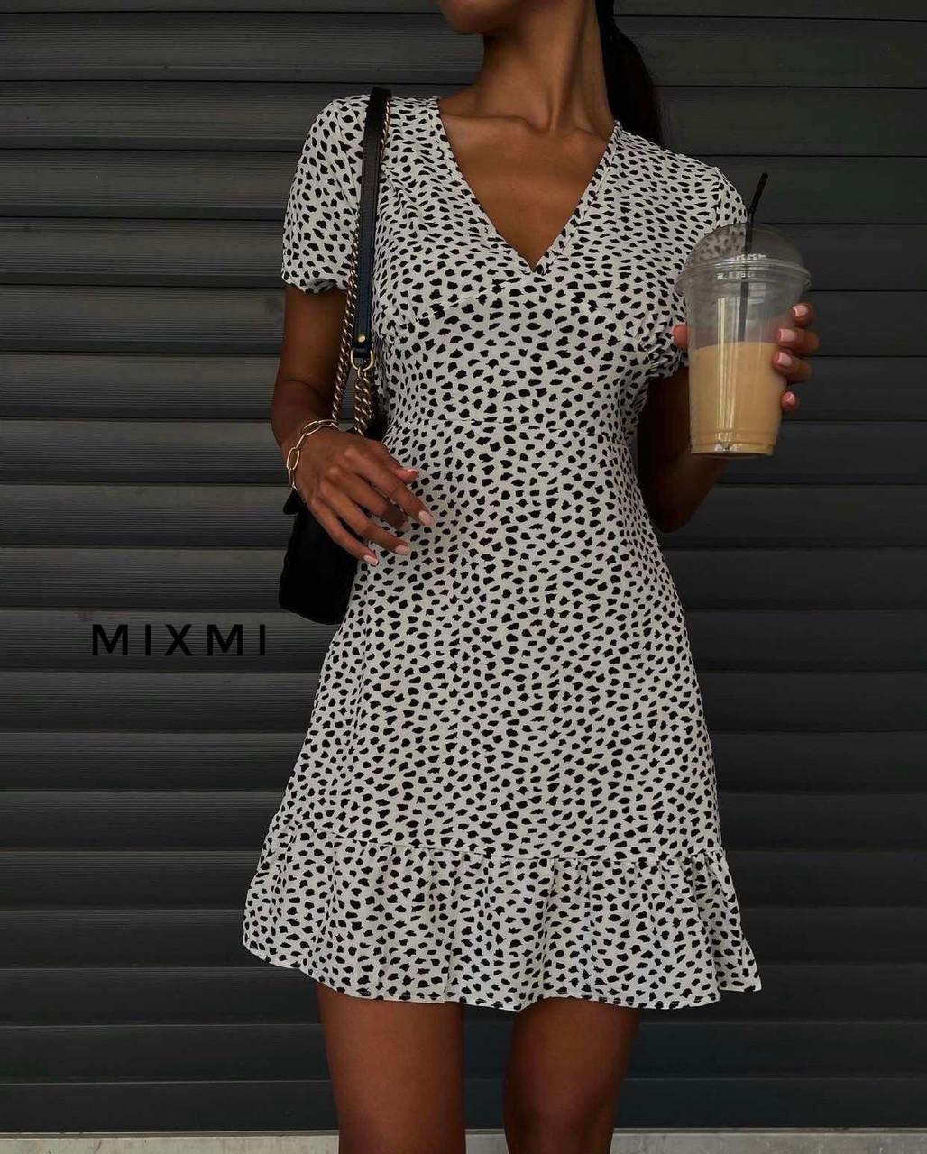 Женское платье, принт-жатка, р-р 42-44; 44-46 (белый)