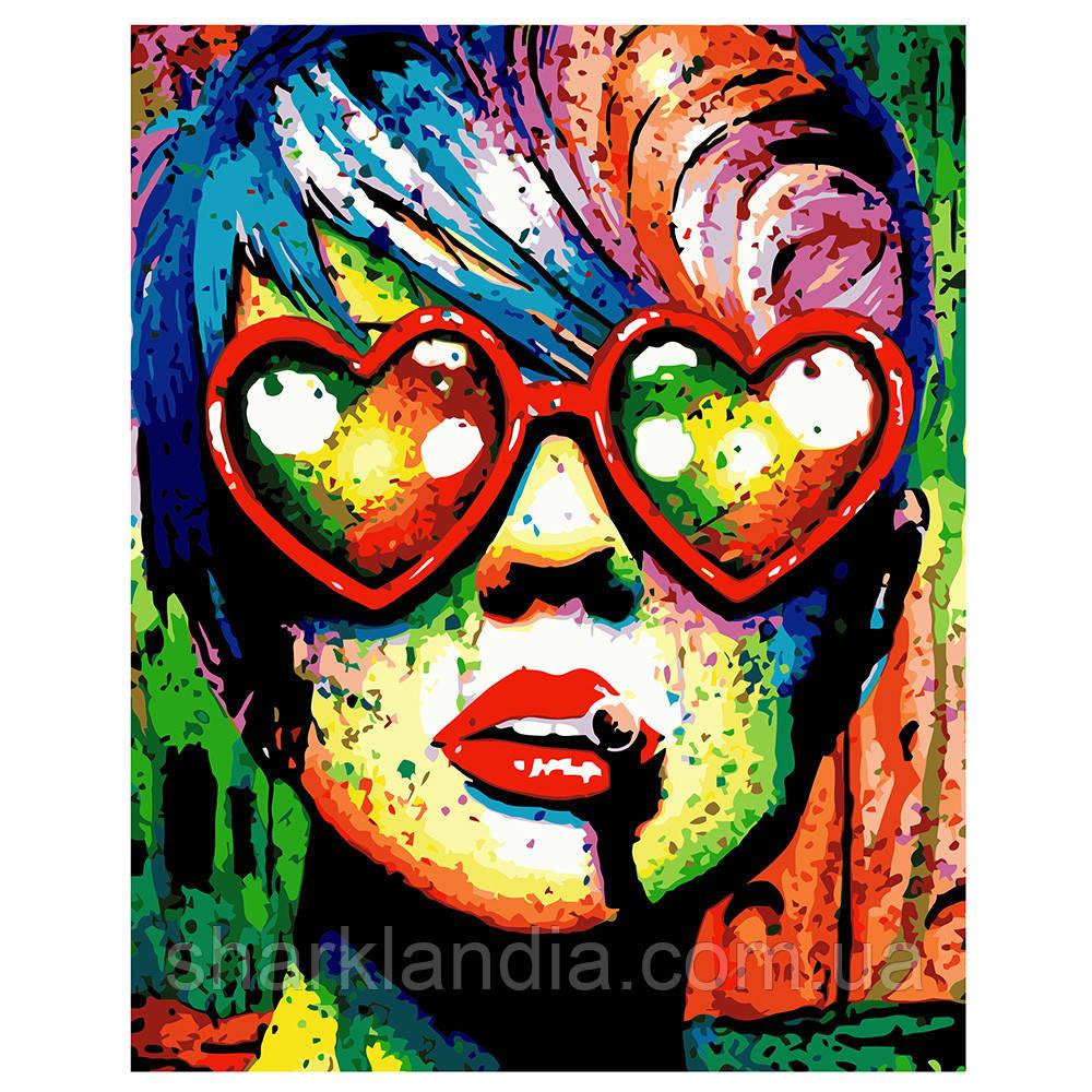 Картина за номерами Поп-арт дівчина в окулярах 40*50см Strateg Розмальовки