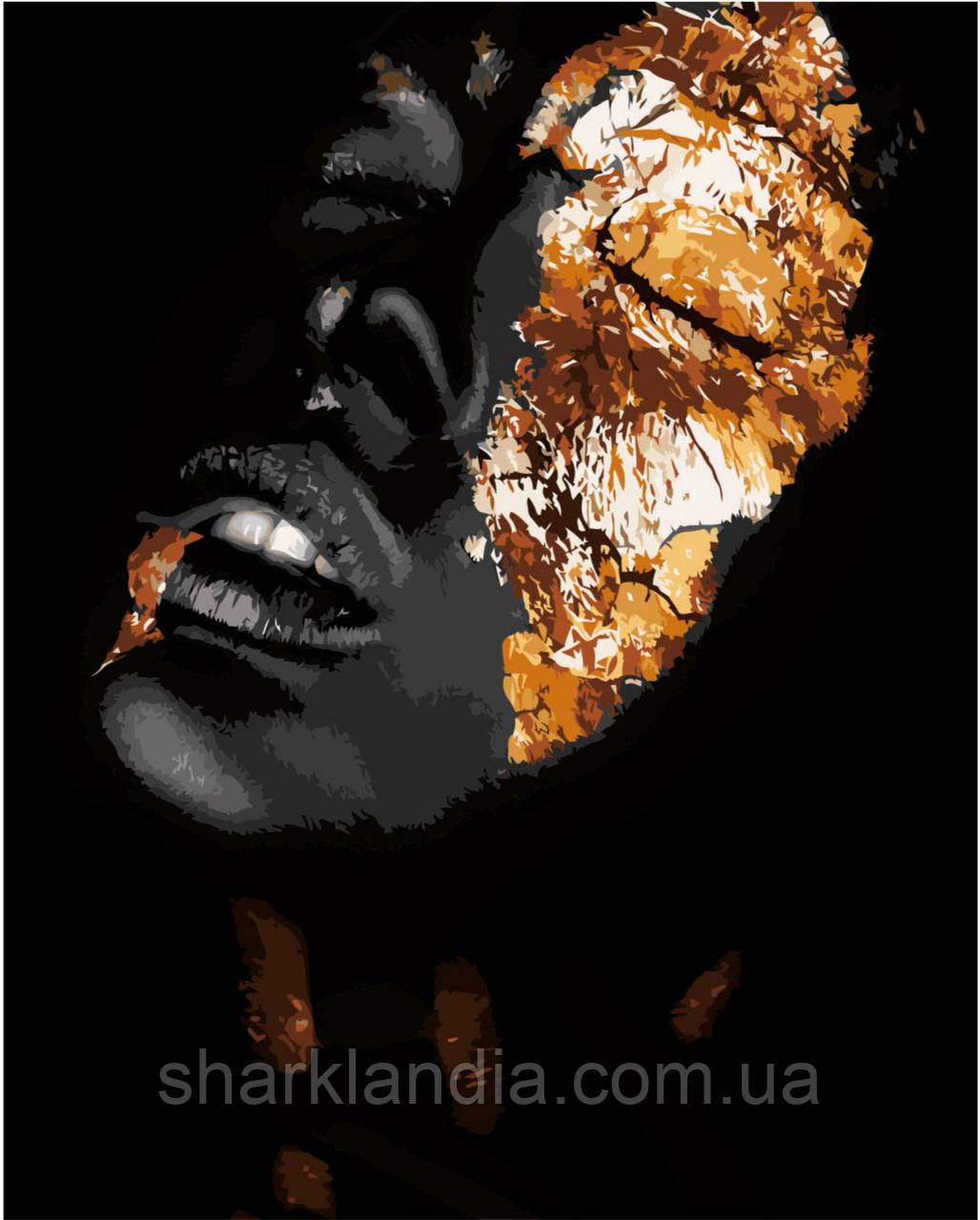 Картина по номерам Девушка в золоте 40*50см Strateg Раскраски С золотой краской ч/б Абстракция В золотой маске