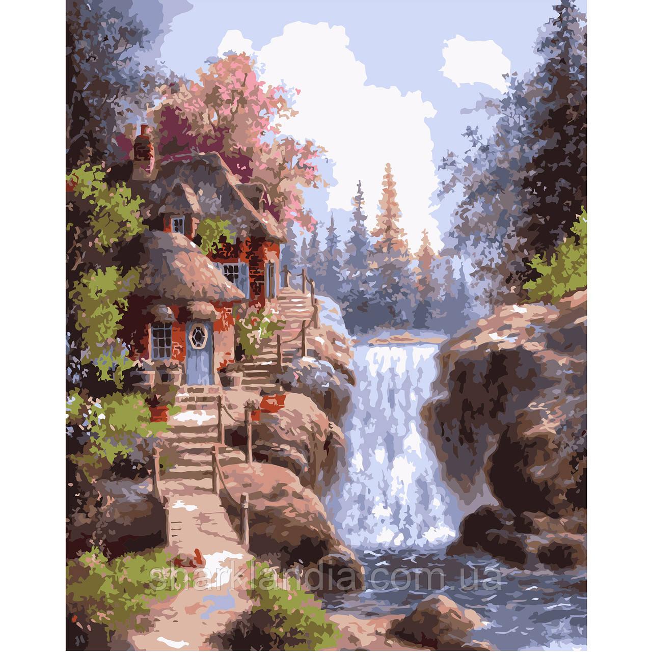 Картина по номерам Домик у фонтана 40*50см Strateg Раскраски Пейзаж Водопад Природа