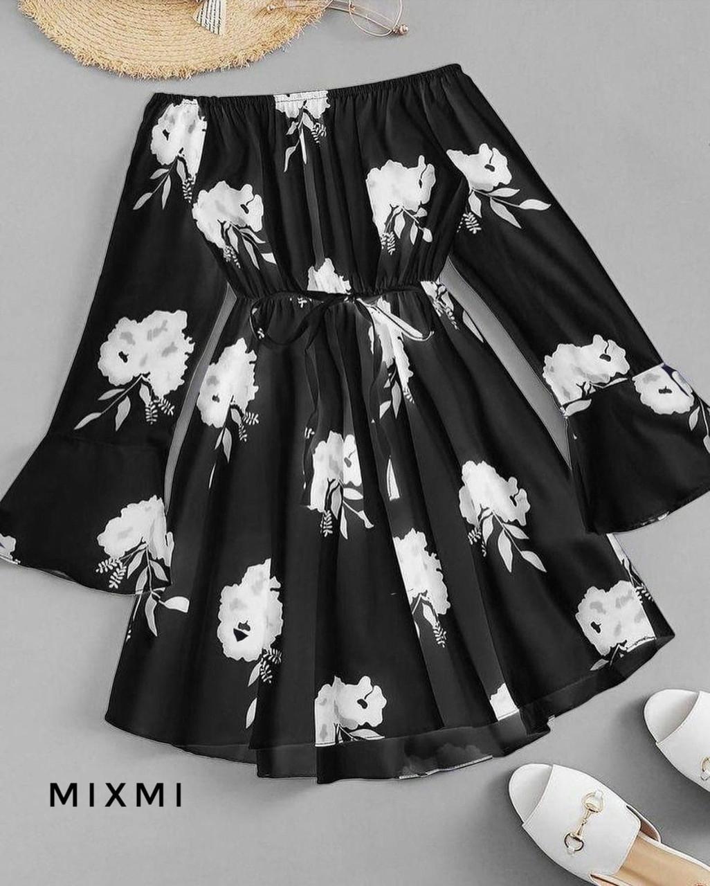 Женское платье, софт, р-р 42-44; 44-46 (черный)
