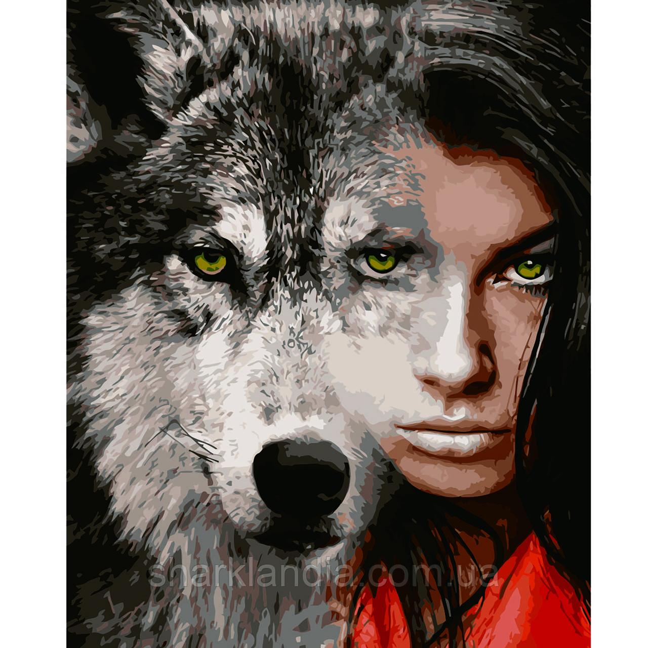 Картина по номерам Сильный взгляд 40*50см Strateg Раскраски Девушка и Волк Милан Абстракция