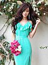 Летнее платье макси в горошек на тонких бретелях с резинкой на талии и рюшами (р. S, M) 9py2686, фото 2