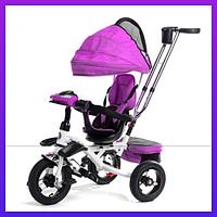 Трехколесный детский велосипед с ручкой Baby Trike цвет розовый  с стальной рама складной капюшон