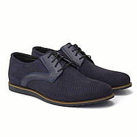 Летние туфли нубук синие с перфорацией мужская обувь повседневная Rosso Avangard Derby RezBlu Perf Poly