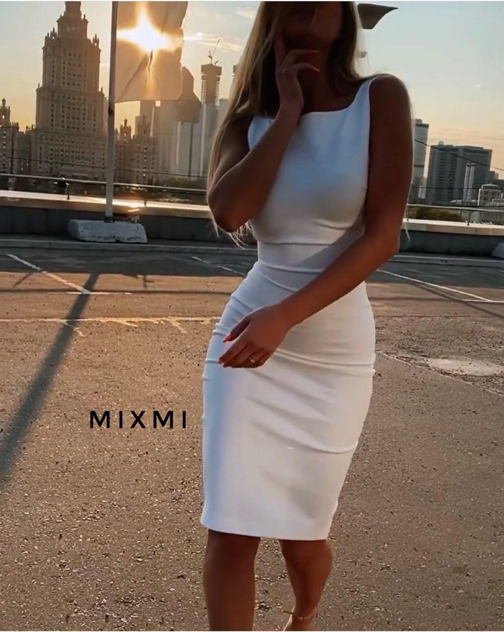 Жіноче плаття, креп-дайвінг, р-р 42-44; 44-46 (білий)