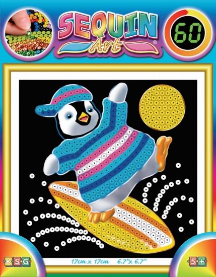 Картина блестками для детей Пингвин Sequin Art