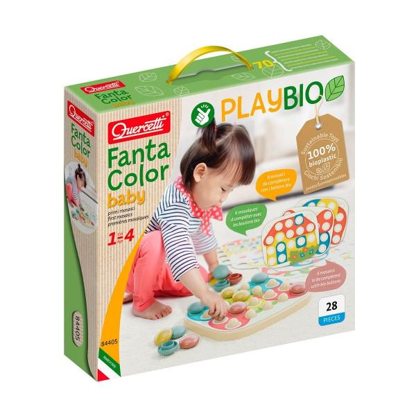Мозаика для самых маленьких (большие фишки (21 шт.) + доска) Play Bio, Quercetti, Мозаика детская