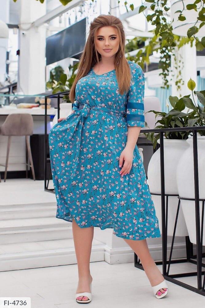 Стильне плаття а-силуету з поясом р-ри 50-54 арт.345