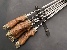 """Подарунковий набір шампурів з дерев'яними ручками """"Лігво звіра"""" в шкіряному сагайдаку"""