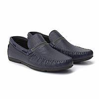 Удобные мокасины на широкую ногу из кожи обувь с перфорацией синие Rosso Avangard Stripe Blue Leather Perf
