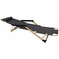 Шезлонг лежак Bonro 180 см серый, фото 2