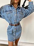 Джинсовое платье рубашка с длинным рукавом и карманами на груди (р. S, М) 77032698, фото 4