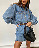 Джинсовое платье рубашка с длинным рукавом и карманами на груди (р. S, М) 77032698, фото 3