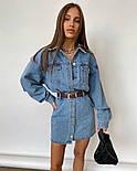 Джинсовое платье рубашка с длинным рукавом и карманами на груди (р. S, М) 77032698, фото 2