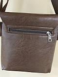 Чоловіча сумка розмір 20 х 22 см колір чорний, фото 10