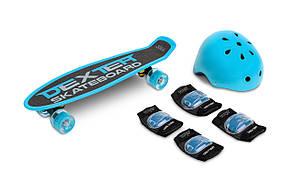 Скейт пенні борд Caretero (Toyz) Dexter + шолом і захист Blue