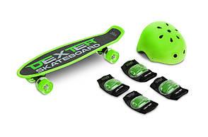 Скейт пенні борд Caretero (Toyz) Dexter + шолом і захист Green