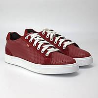 Кроссовки мужские красные летние кожаные кеды повседневные Rosso Avangard Puran Red Perf Leath EVA