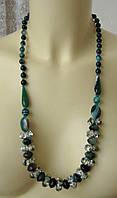 Ожерелье женское бусы натуральные камни агат хрусталь 4828