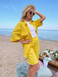 Вільний жіночий літній костюм двійка сорочка+шорти
