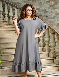 Женское темно-серое платье миди из льна свободного кроя батал