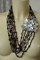 Ожерелье женское бусы натуральные камни агат перламутр 4831, фото 1