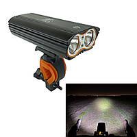 Фара LR-Y2, LED-T6 1600lumens, с двойным креплением и индикатором заряда, черная (видео)