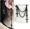 Чорні сережки хрестики на ланцюжку - підвіски у стилі панк, з підвіскою у вигляді хрестиків 1 шт