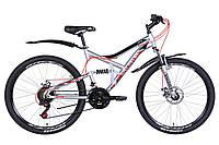 """Велосипед 26"""" Discovery CANYON DD 2021 (серебристо-черный с красным)"""
