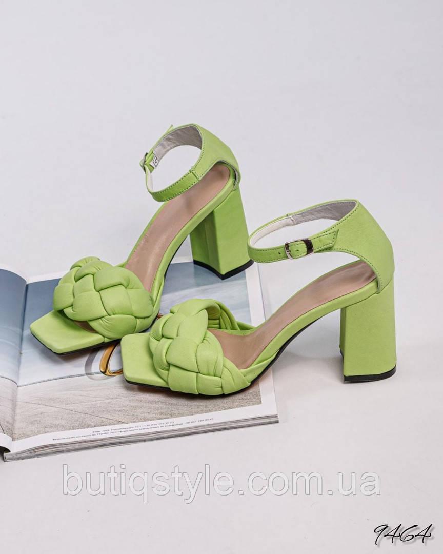 Жіночі плетені босоніжки молода зелень натуральна шкіра