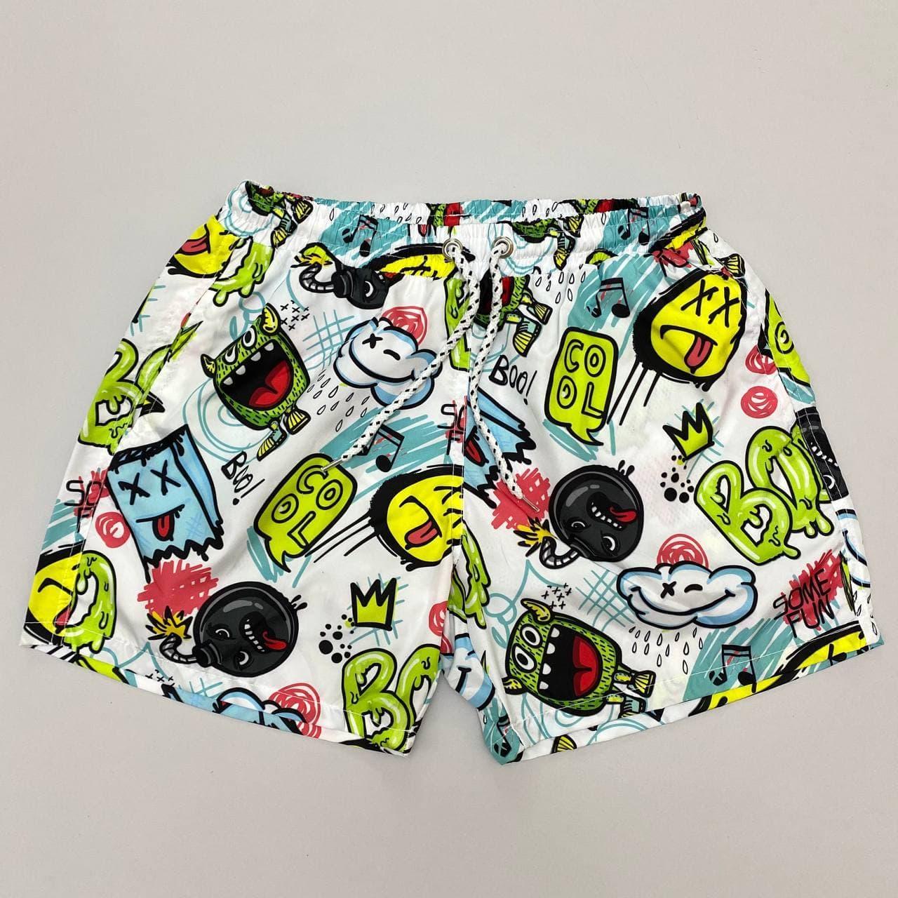 Мужские плавательные шорты с крутым принтом. Стильные плавки мужские пляжные с модным принтом.