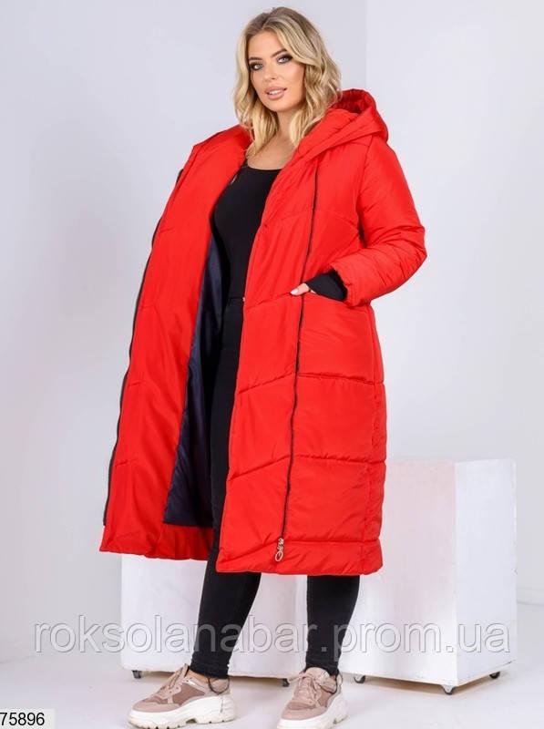 Пальто женское зимнее из стеганной плащевки в красном цвете