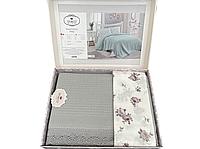 Комплект летнего постельного белья DO&GO Dantelli Pike Gri ранфорс 240-220 см серый